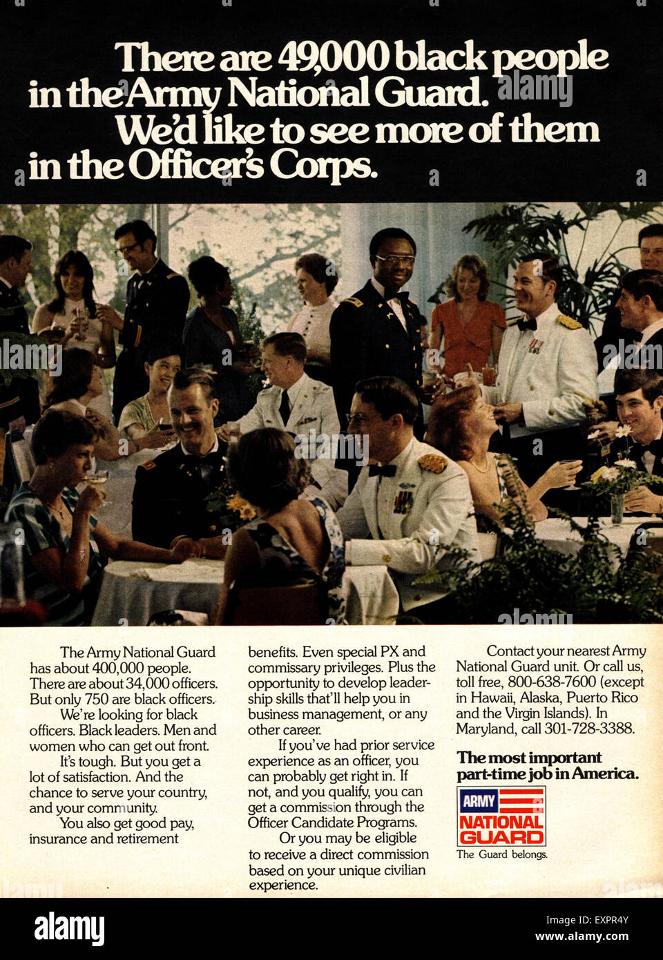 1970s USA Army National Guard Magazine Advert - Stock Image
