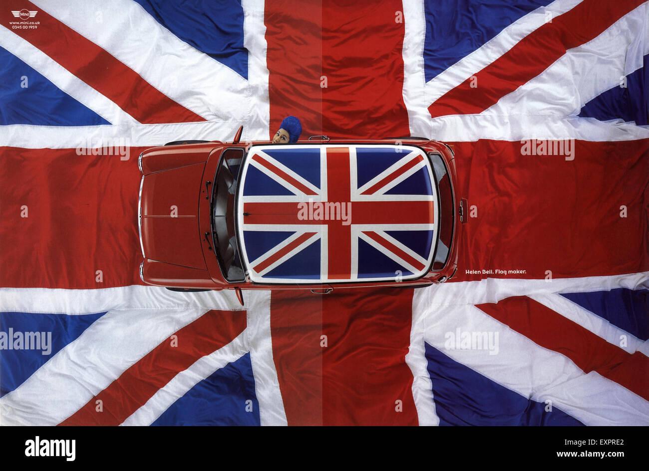 1990s UK Mini Cars Flags Magazine Advert - Stock Image
