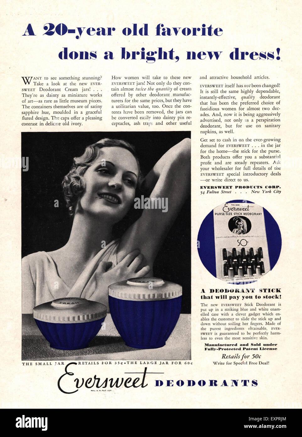 1930s USA Eversweet Magazine Advert - Stock Image