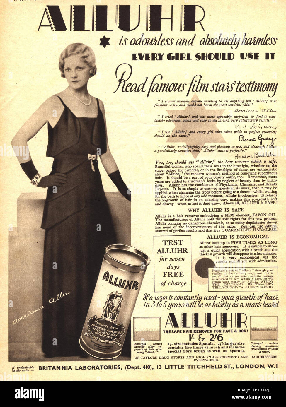 1930s UK Alluhr Magazine Advert - Stock Image