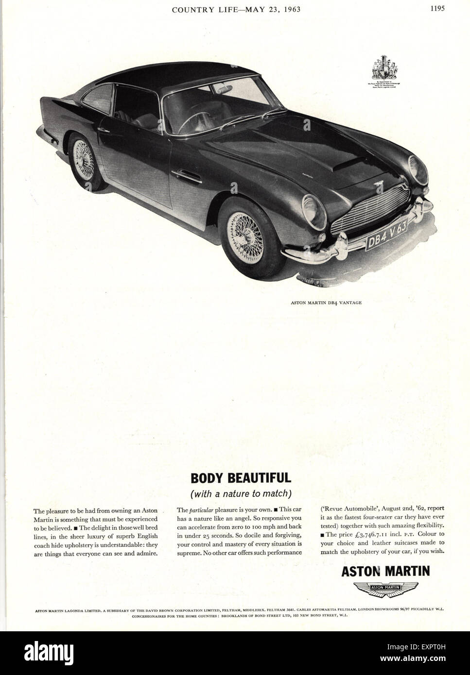 1960s uk aston martin magazine advert stock photo: 85324305 - alamy