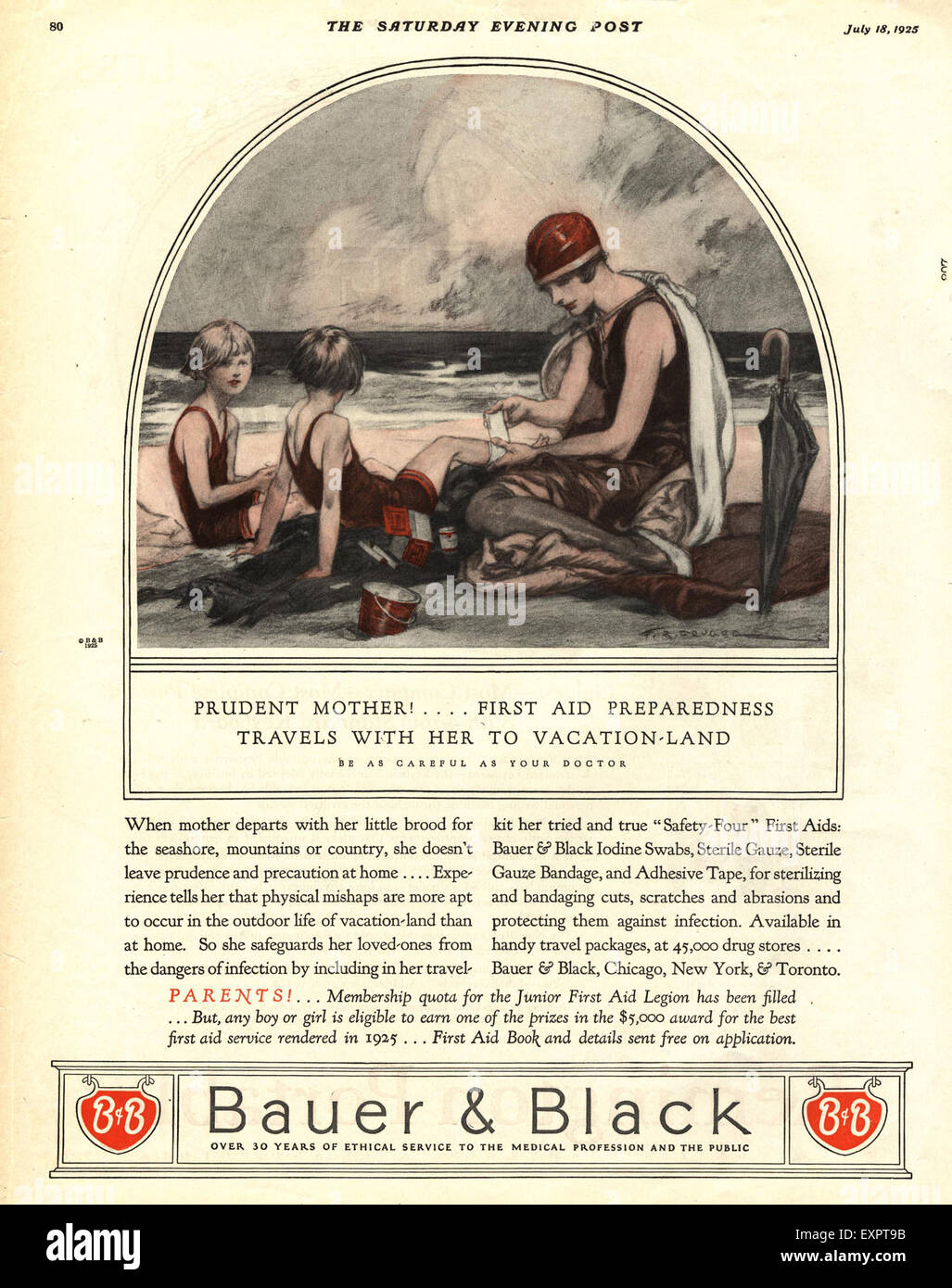 1920s USA Bauer and Black Magazine Advert - Stock Image
