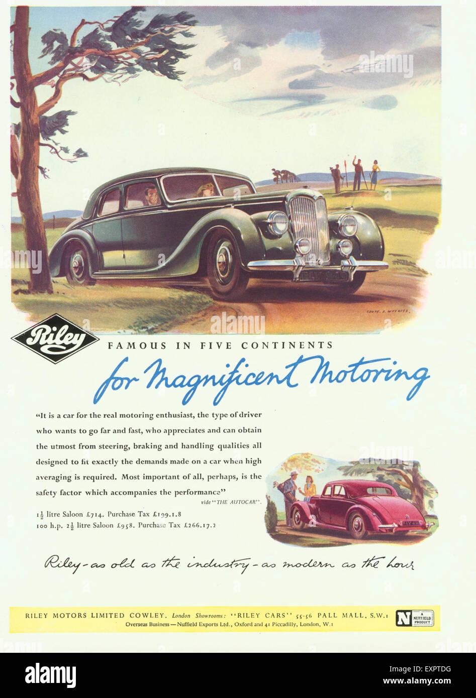 1940s UK Riley Magazine Advert - Stock Image