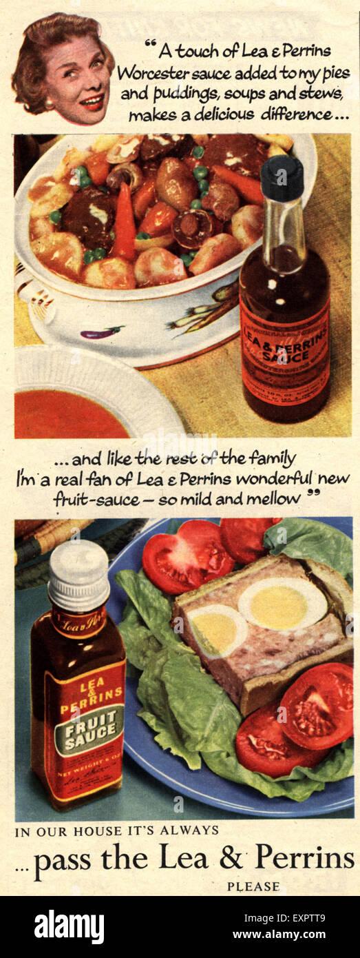 1950s UK Lea and Perrins Sauce Magazine Advert - Stock Image