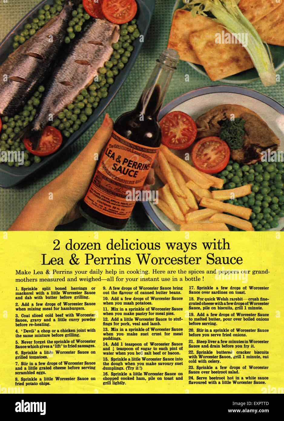 1960s UK Lea and Perrins Sauce Magazine Advert - Stock Image