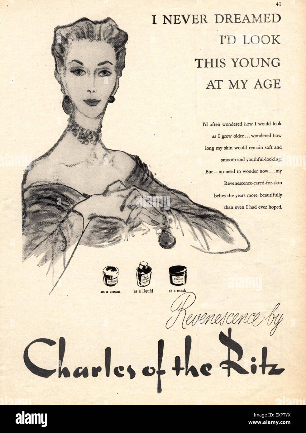 1950s USA Charles of the Ritz Magazine Advert - Stock Image
