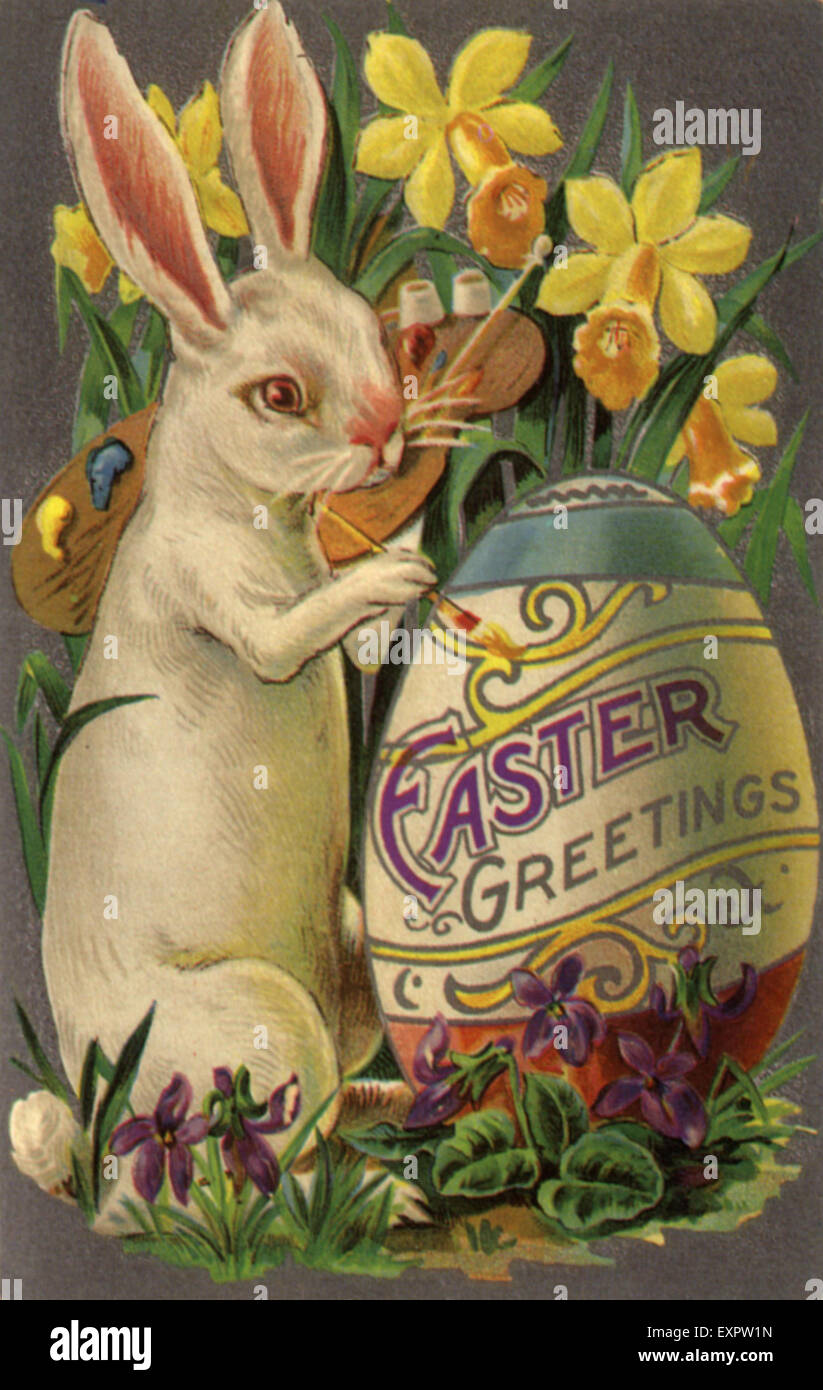 1900s Usa Easter Bunnies Day Cards Greetings Card Stock Photo