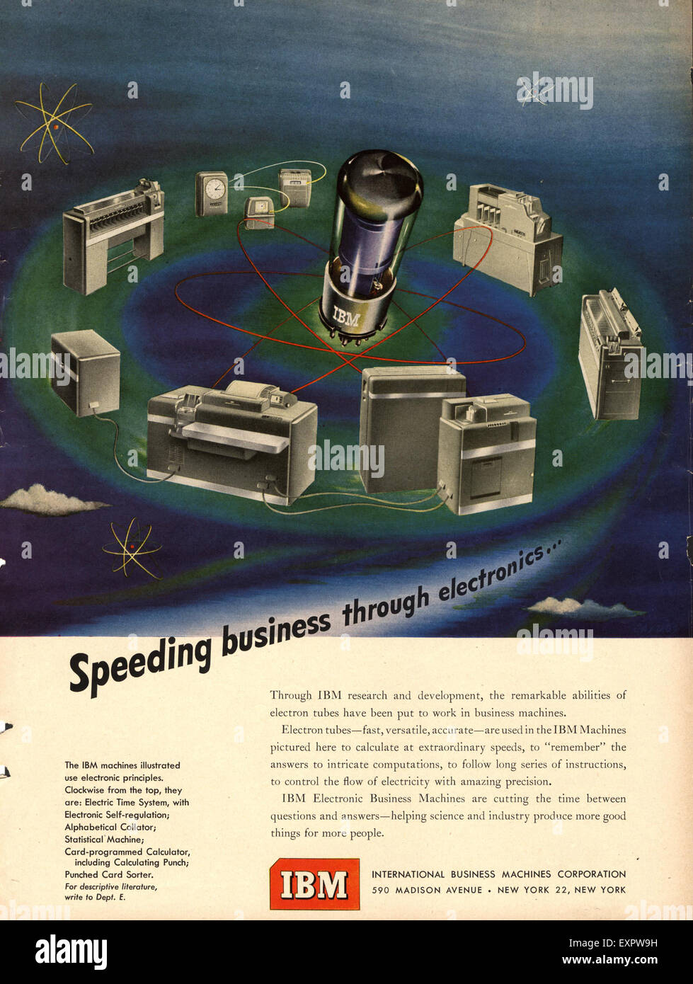 1950s USA IBM Magazine Advert Stock Photo