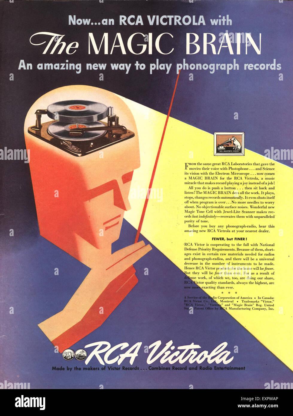 1940s USA RCA Record Players Recorders Magazine Advert Stock