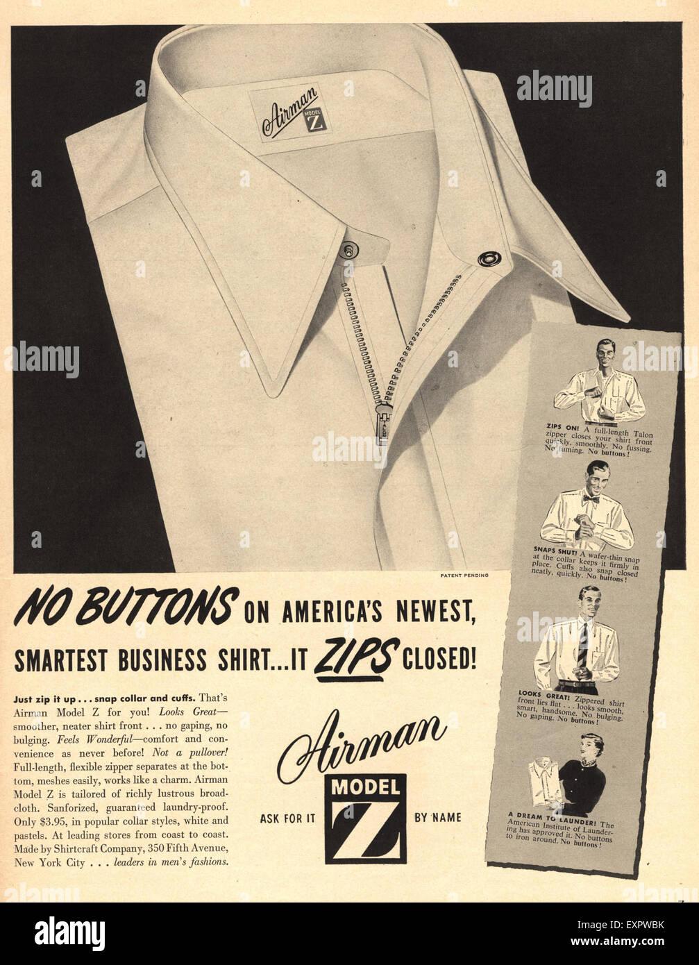 1950s USA Airman Shirts Magazine Advert - Stock Image
