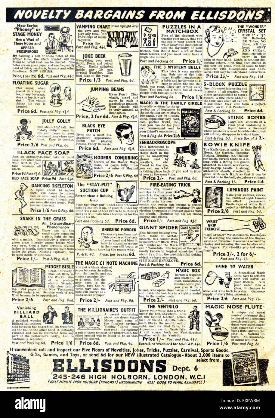 1960s UK Ellisdons Jokes Practical Magazine Advert - Stock Image