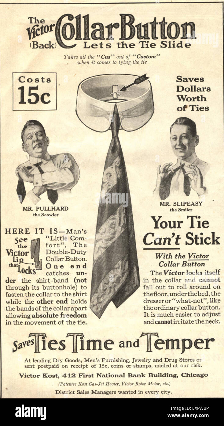 1920s USA Victor Automatic Tie Magazine Advert - Stock Image