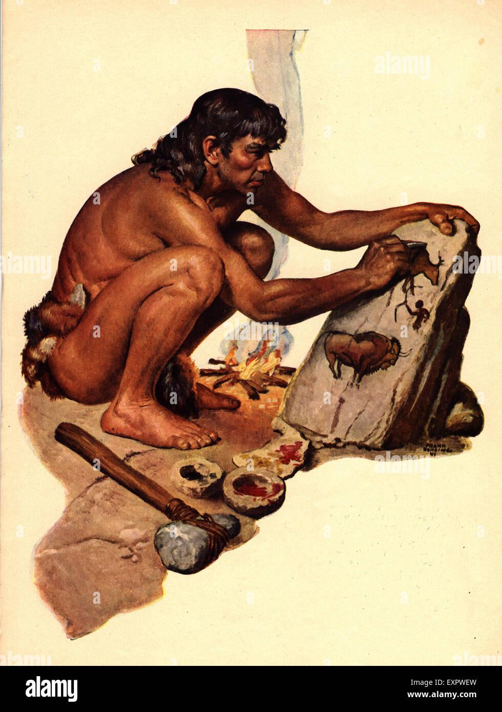 1840s & Pre UK Caveman Magazine Plate - Stock Image
