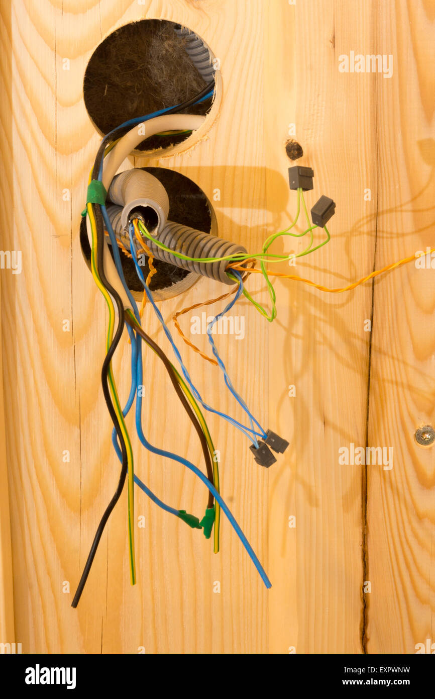 Admirable New Wiring In A Wooden House Under Construction In Austria Stock Wiring Cloud Hisonuggs Outletorg