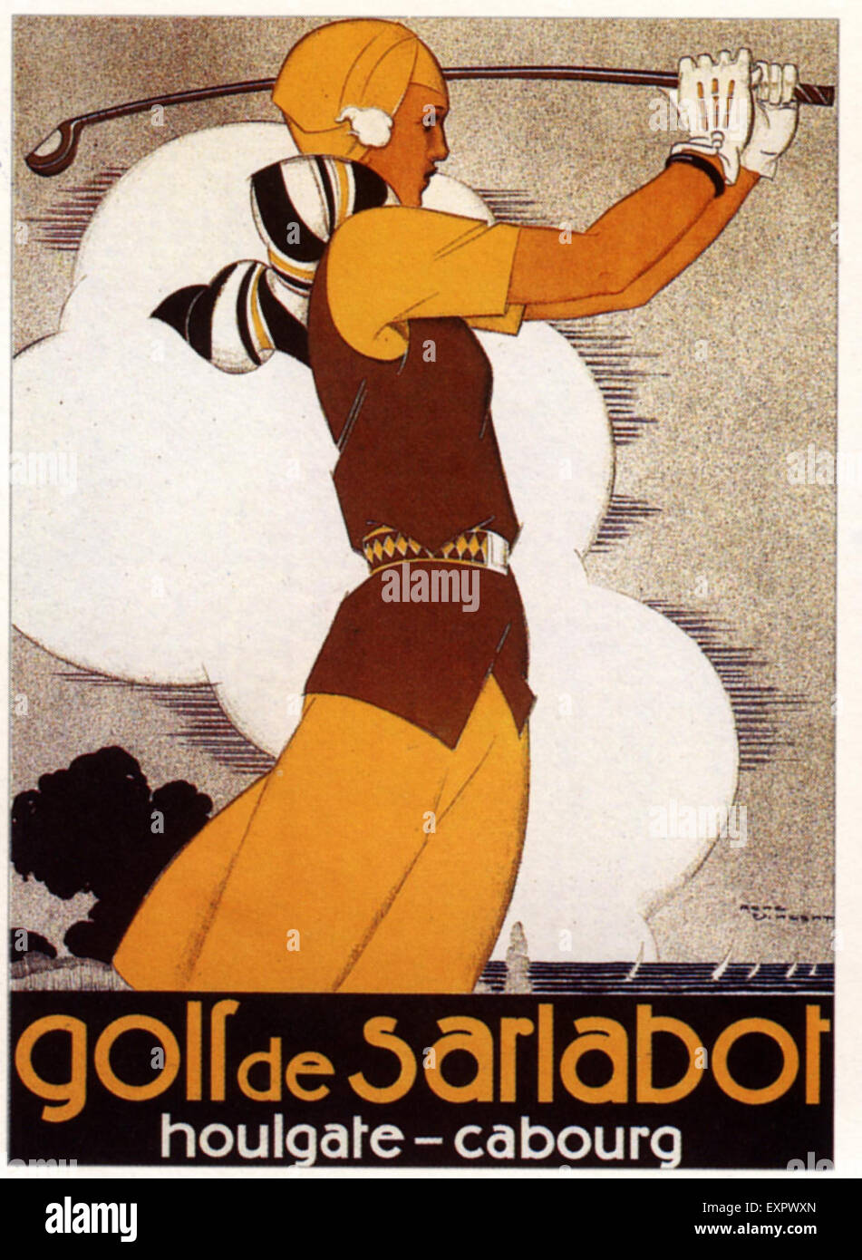 1930s France Golf Poster - Stock Image