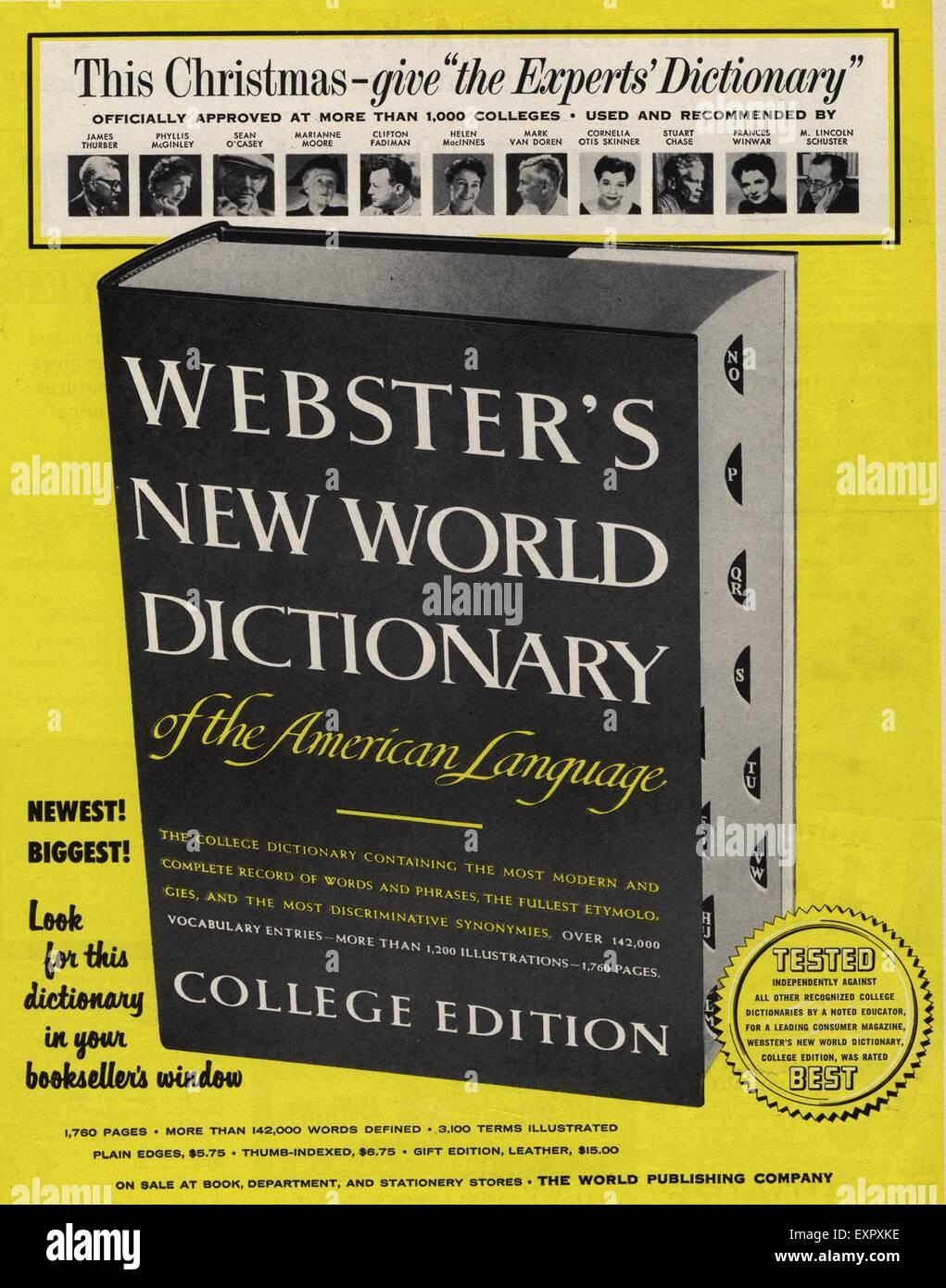 1940s USA Dictionary Magazine Advert - Stock Image