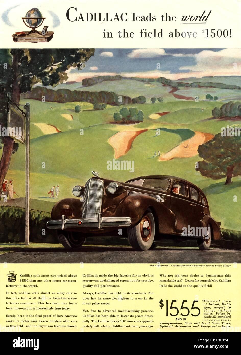 1930s Usa Cadillac Magazine Advert Stock Photo 85326616 Alamy