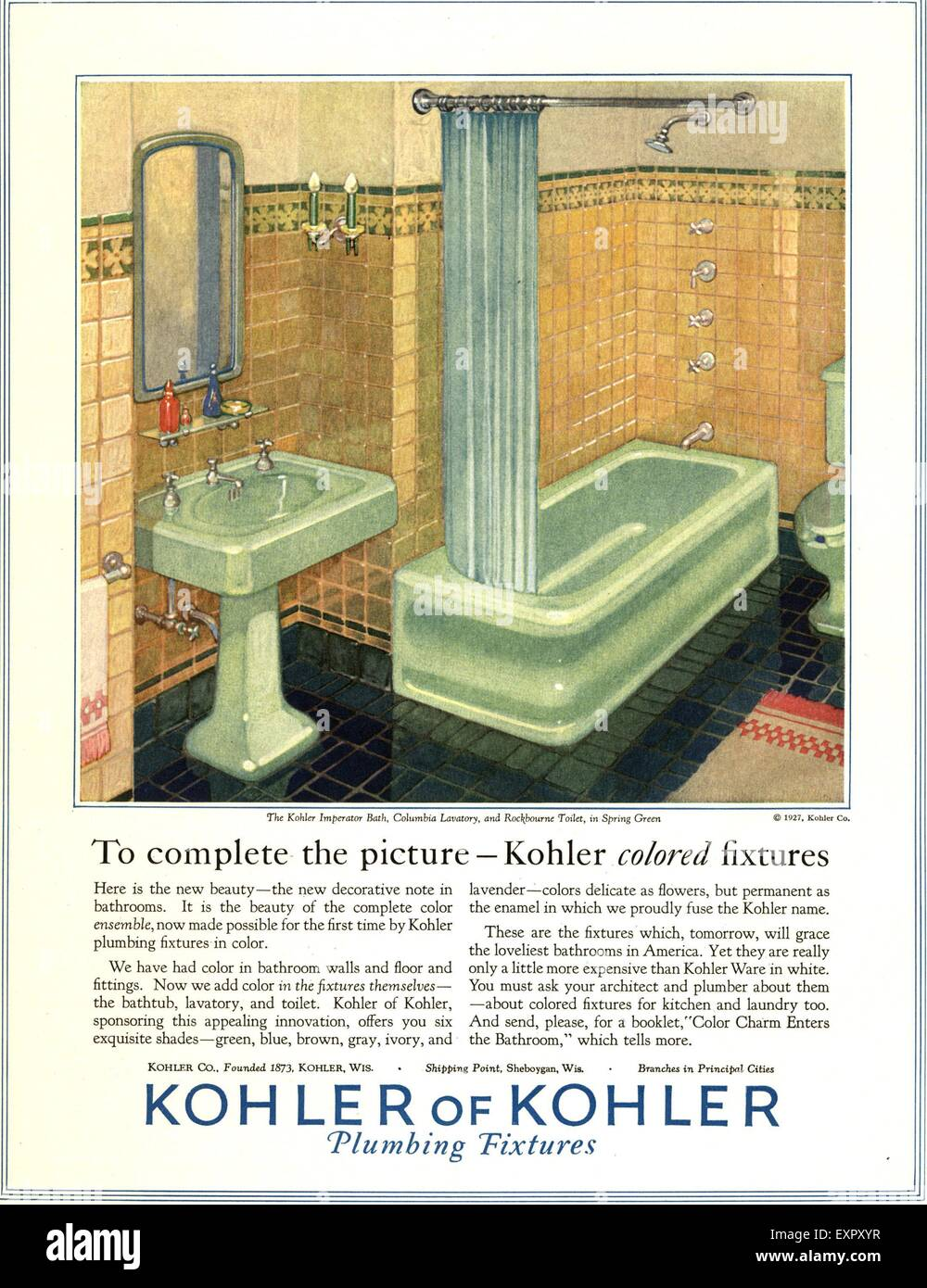 1920s Usa Kohler Bathrooms Magazine Stock Photos & 1920s Usa Kohler ...