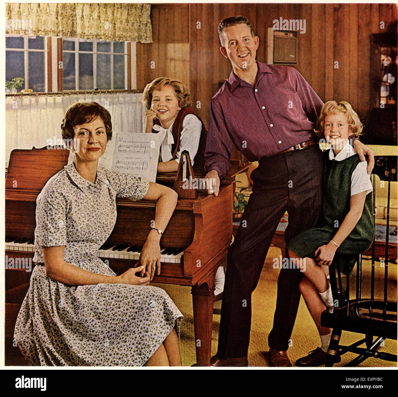 1960s USA Family Portraits Magazine Advert (detail) - Stock Image