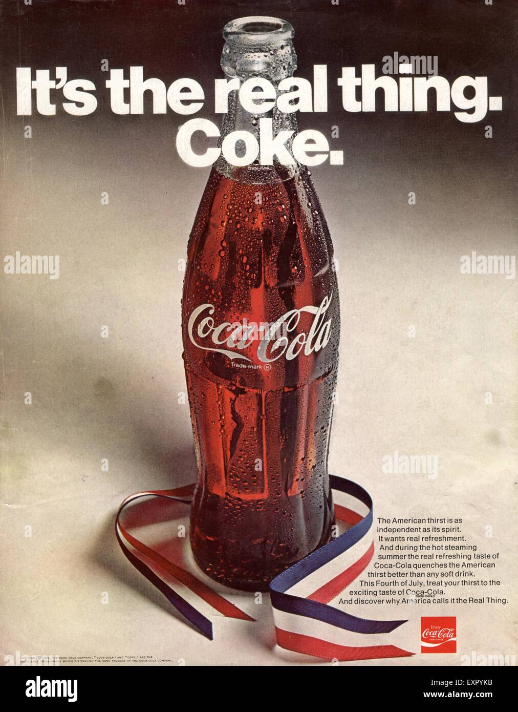 1970s USA Coca-Cola Magazine Advert Stock Photo: 85327183