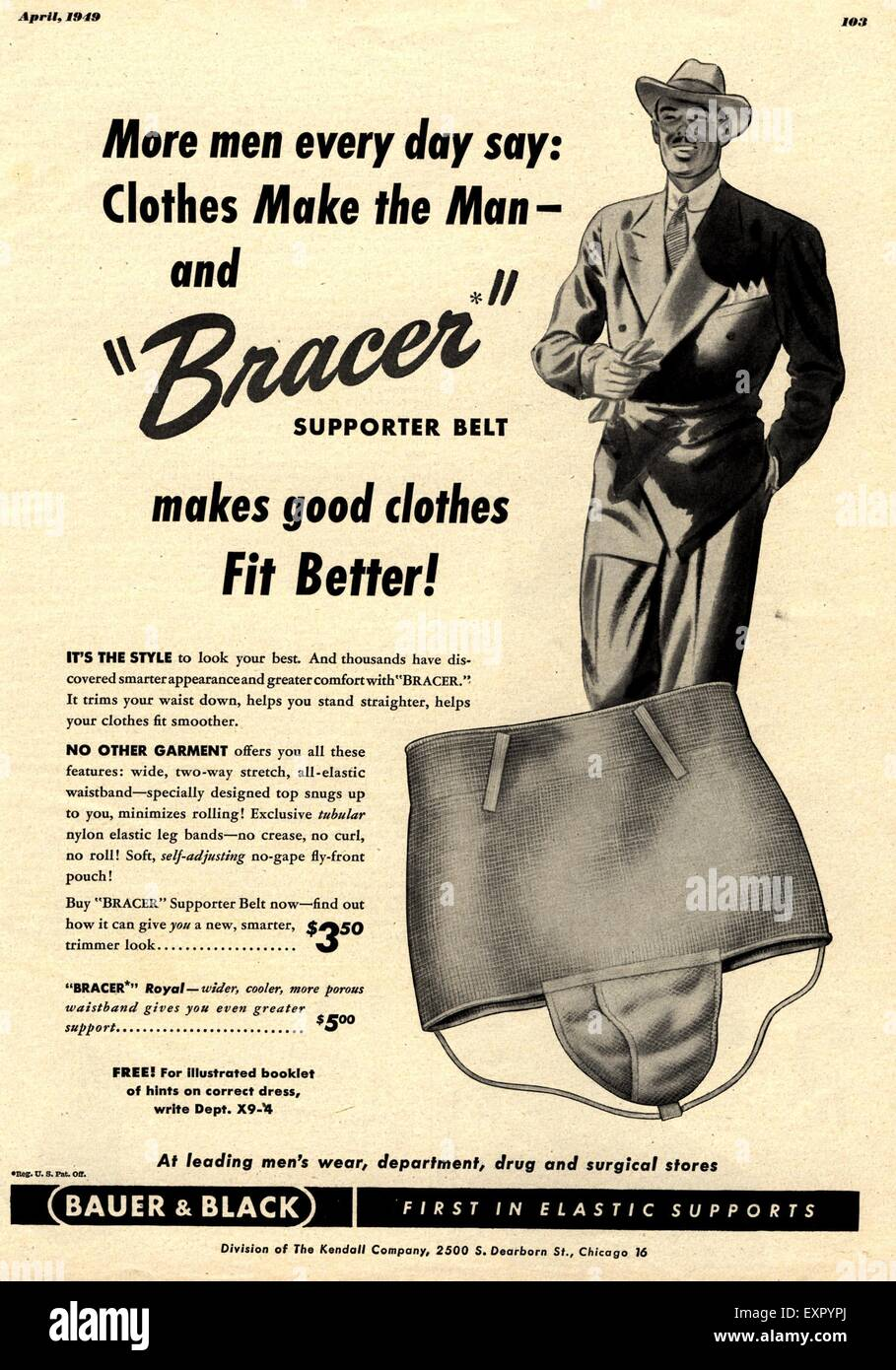 1940s USA Bauer and Black Magazine Advert - Stock Image