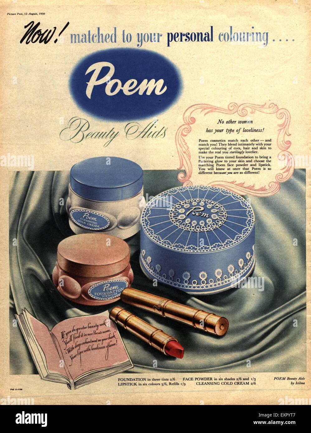 1950s UK Poem Make-Up Magazine Advert - Stock Image