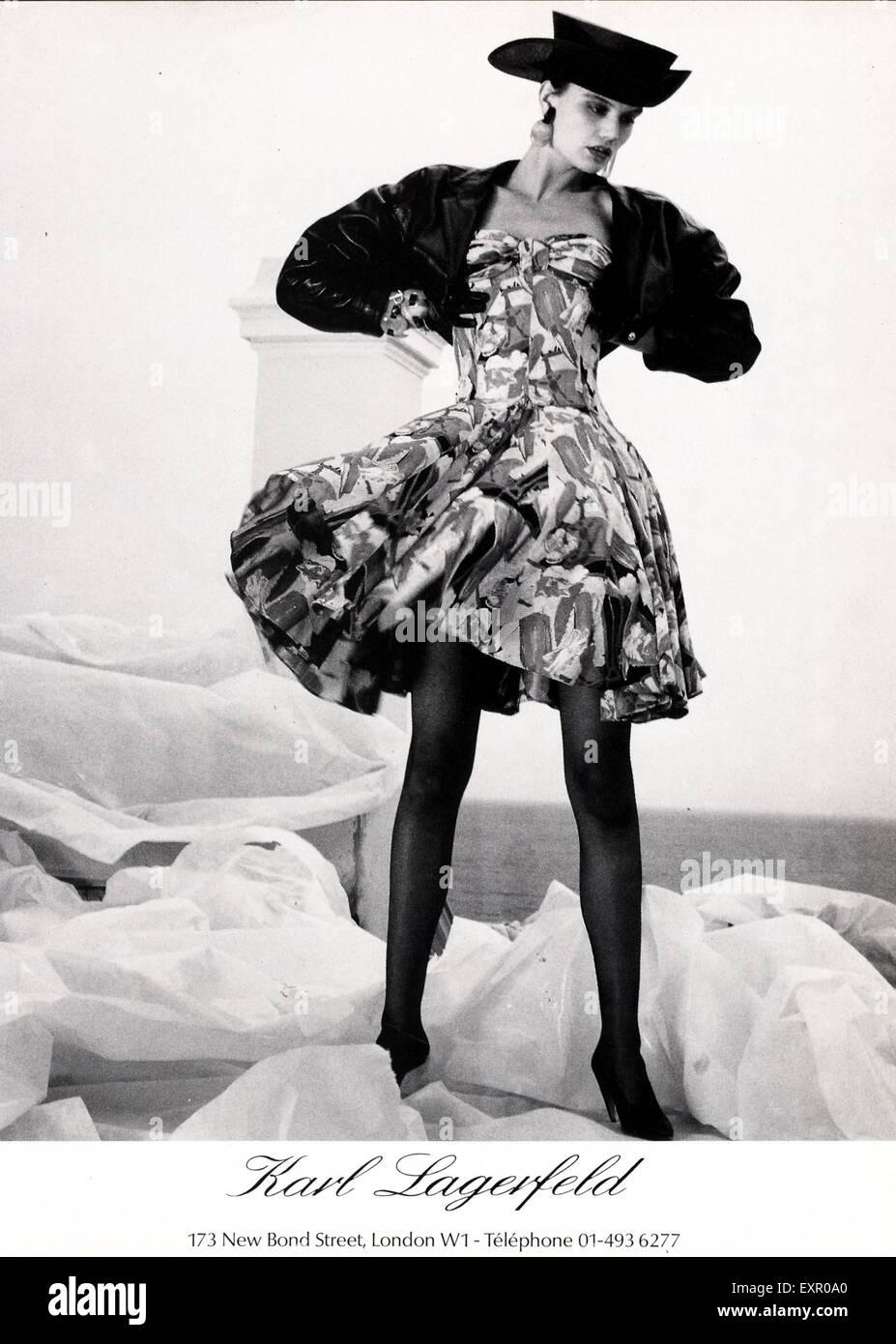 1980s UK Karl Lagerfeld Magazine Advert - Stock Image