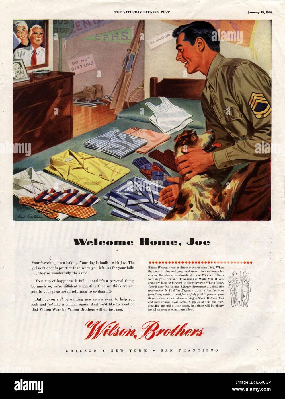1940s USA Wilson Brothers Magazine Advert - Stock Image