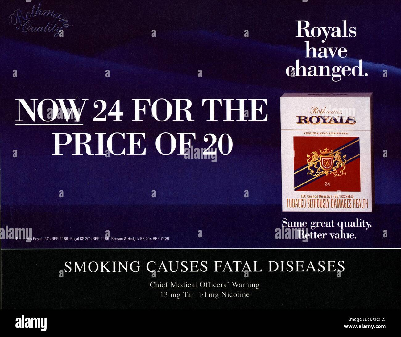 1990s UK Rothmans Royals Magazine Advert - Stock Image