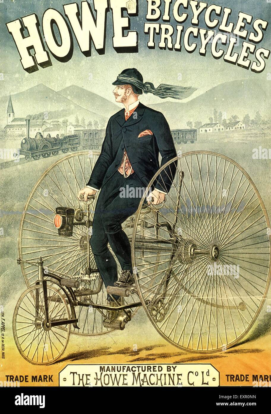 1860s UK Howe Bicycles Poster - Stock Image