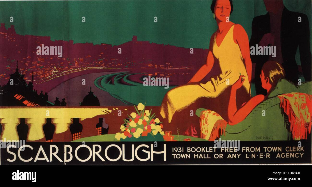 1930s UK Scarborough Poster - Stock Image