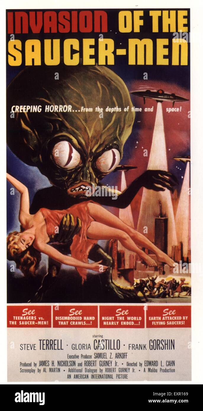1960s USA Invasion Of The Saucer-Men Film Poster - Stock Image