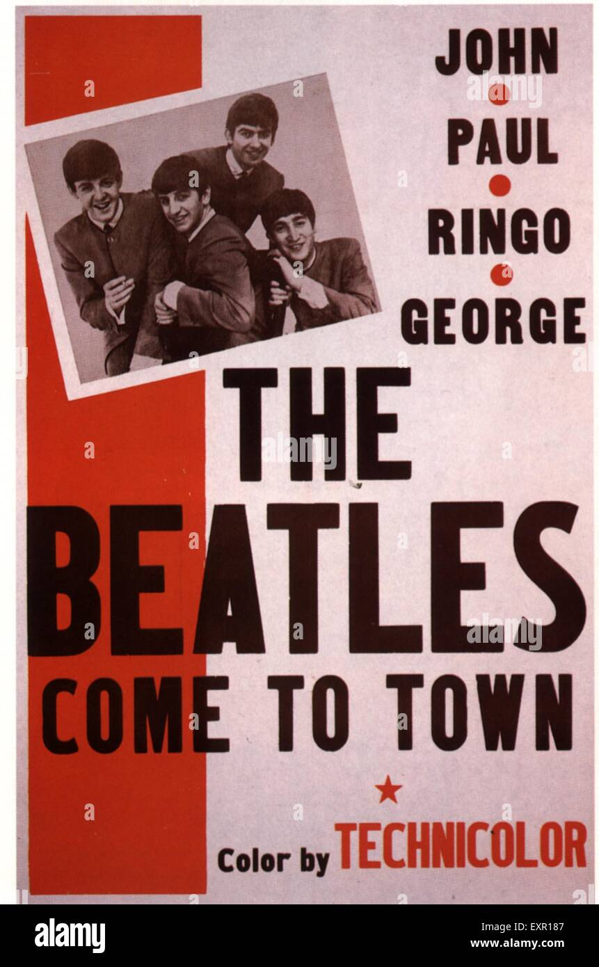 1960s UK The Beatles Come To Town Film Poster - Stock Image