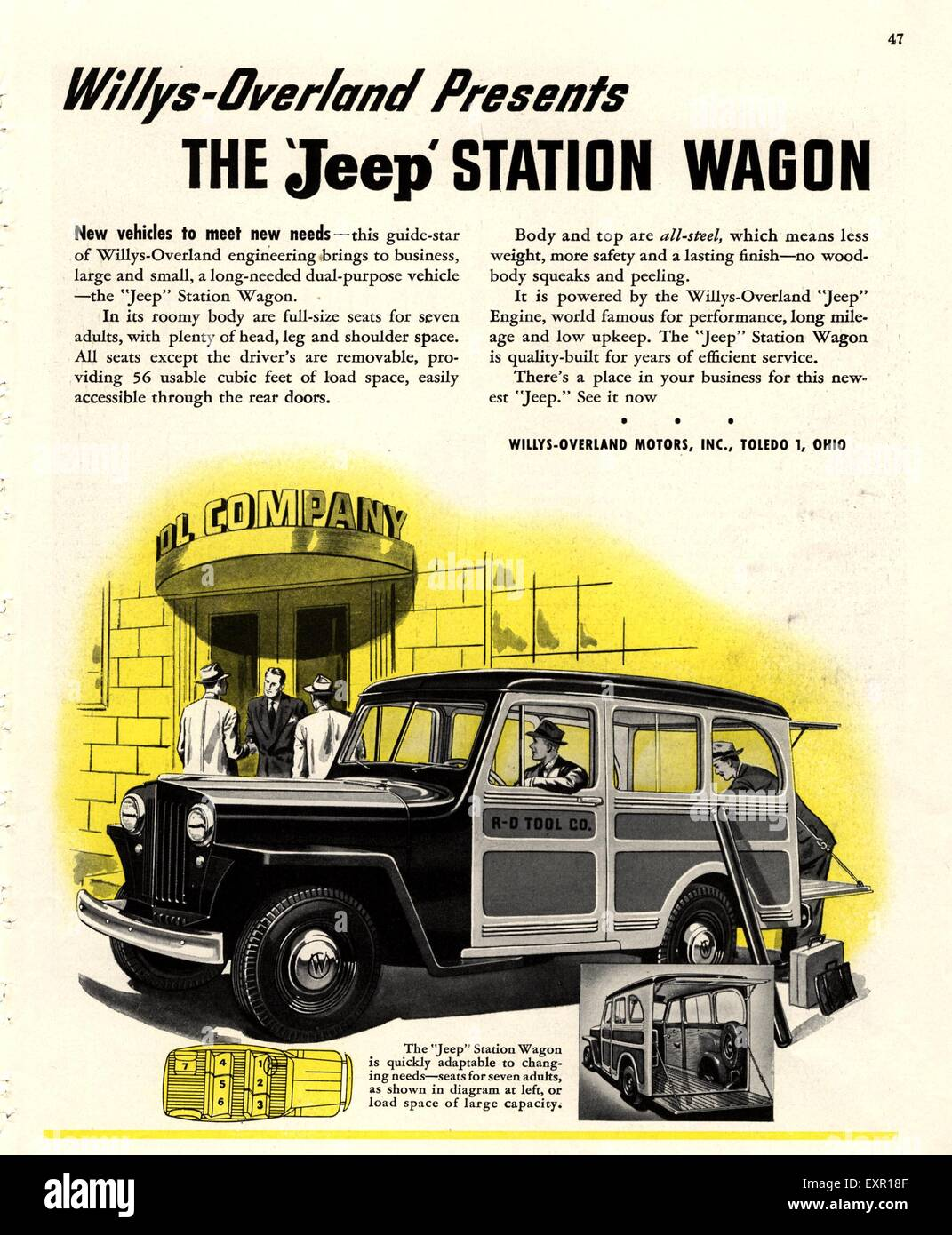 Willys Jeep Stock Photos Images Alamy 1953 Wagon 1940s Usa Magazine Advert Image