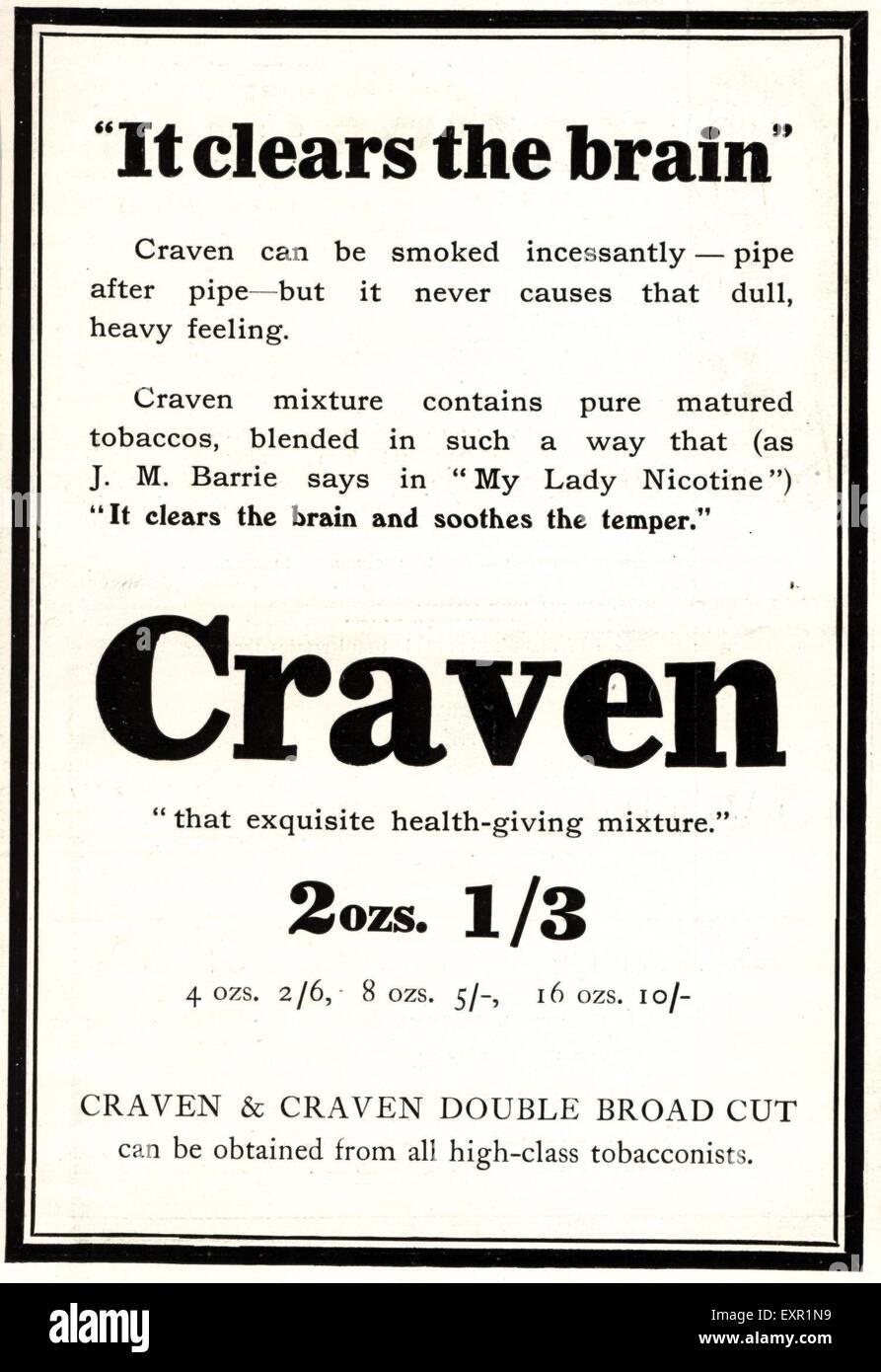 1910s UK Craven A Magazine Advert - Stock Image