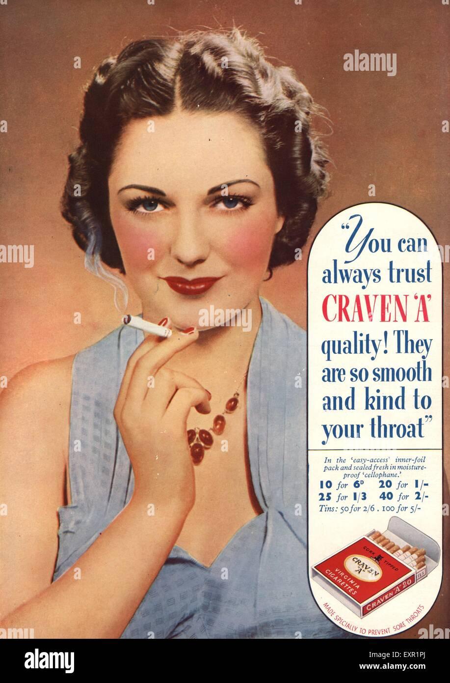 1930s UK Craven A Magazine Advert - Stock Image