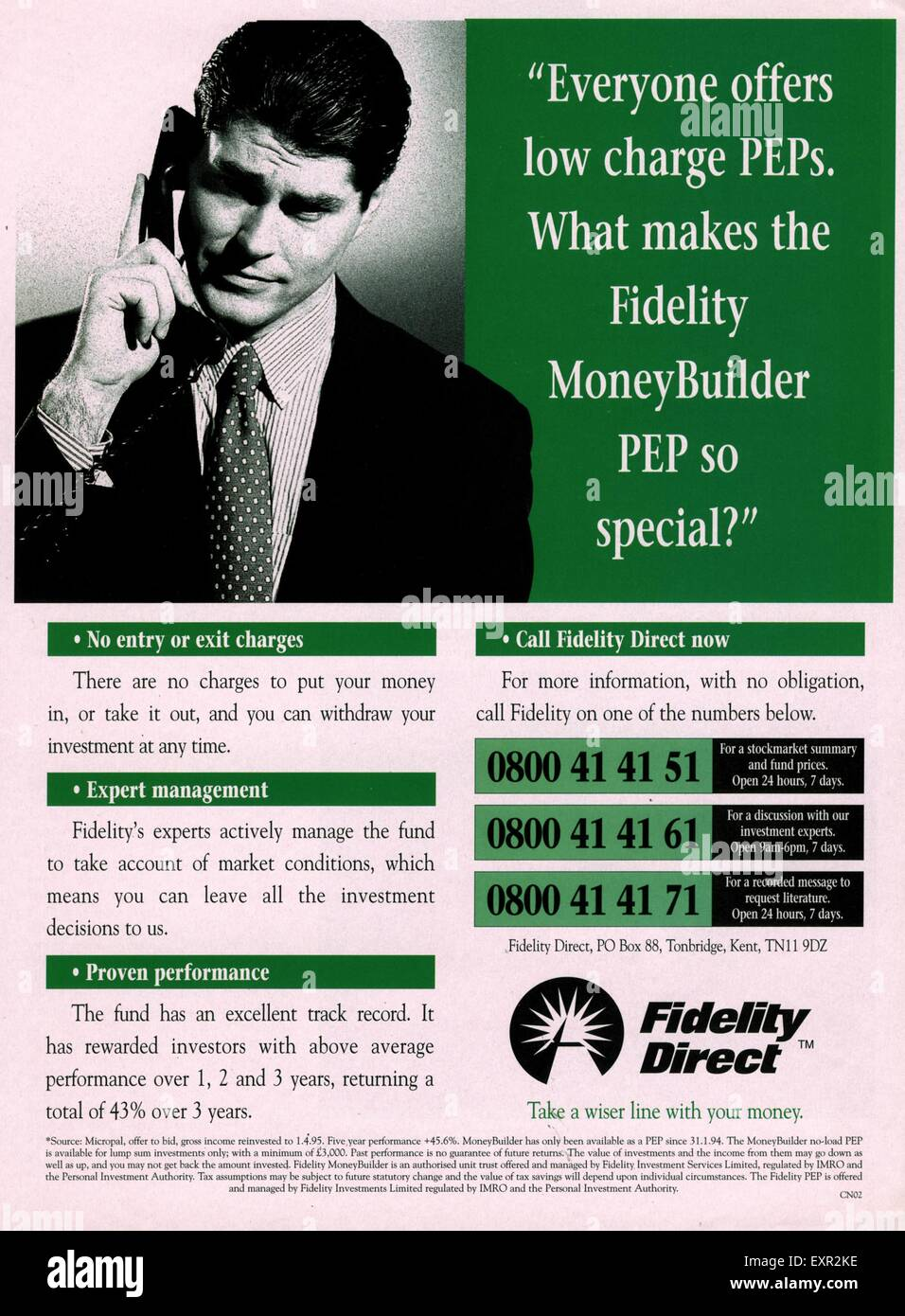 1990s UK Fidelity Direct Magazine Advert - Stock Image