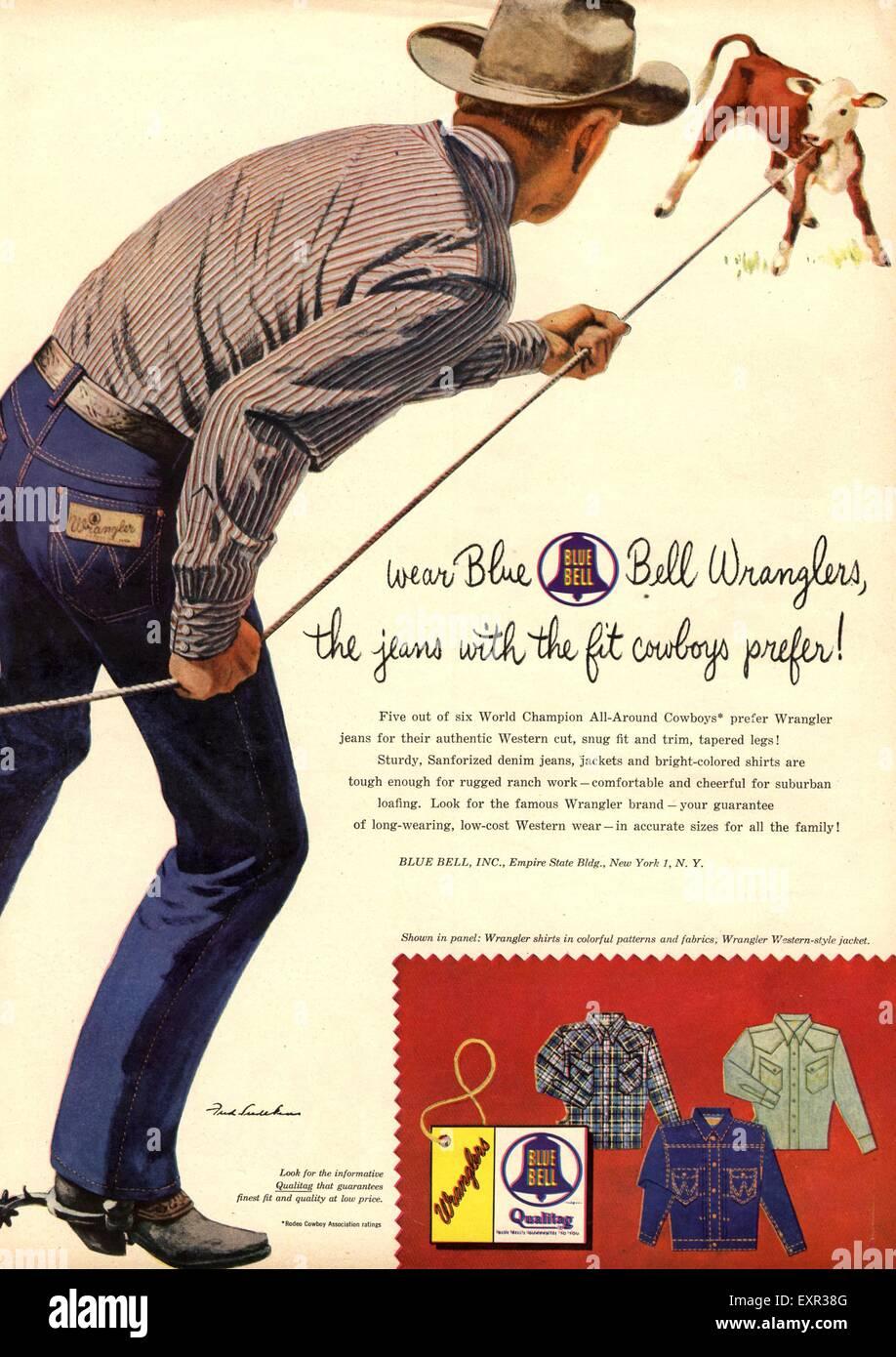 1950s USA Wrangler Magazine Advert - Stock Image