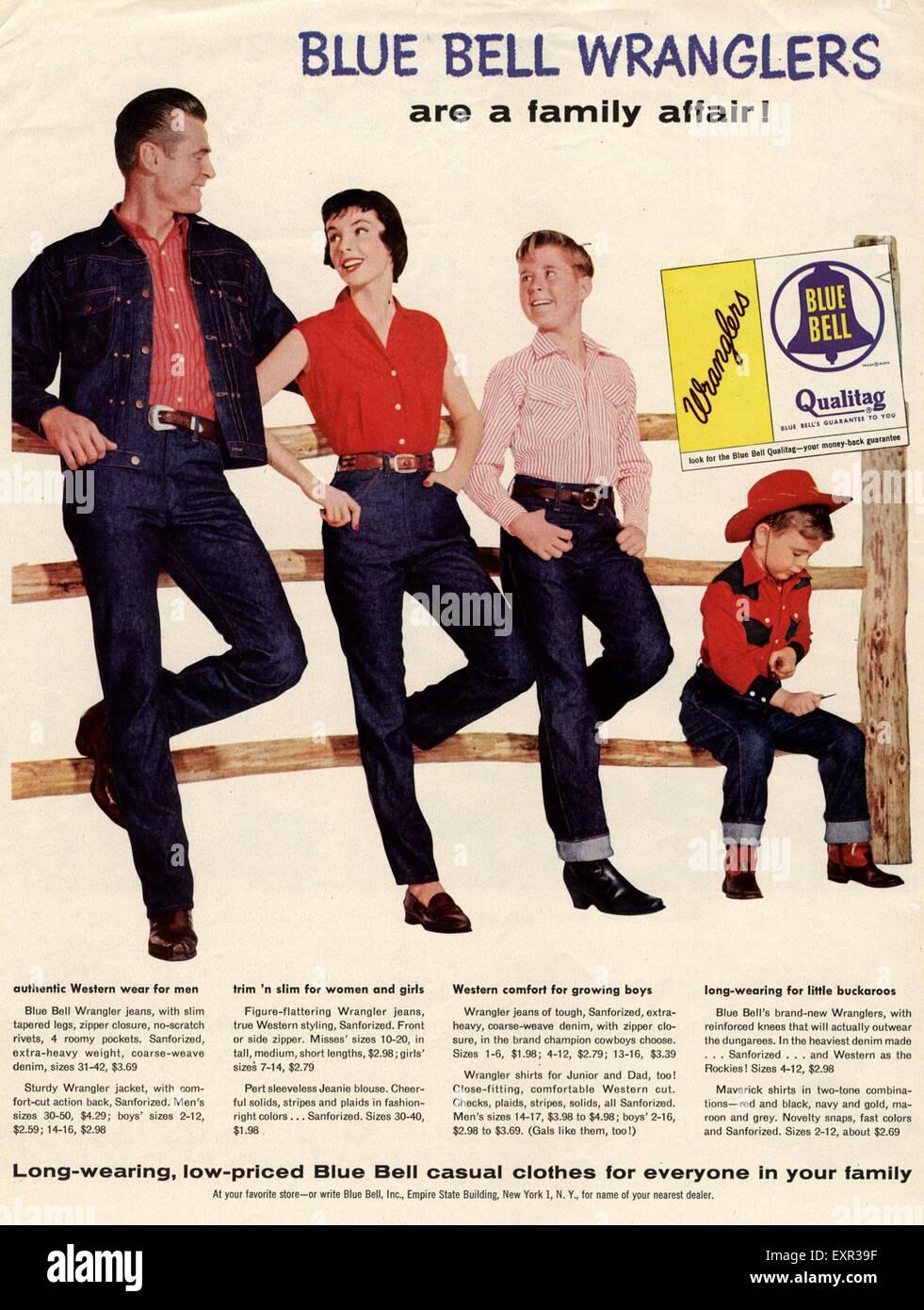 37f7f768a 1950s USA Wrangler Magazine Advert Stock Photo: 85330043 - Alamy