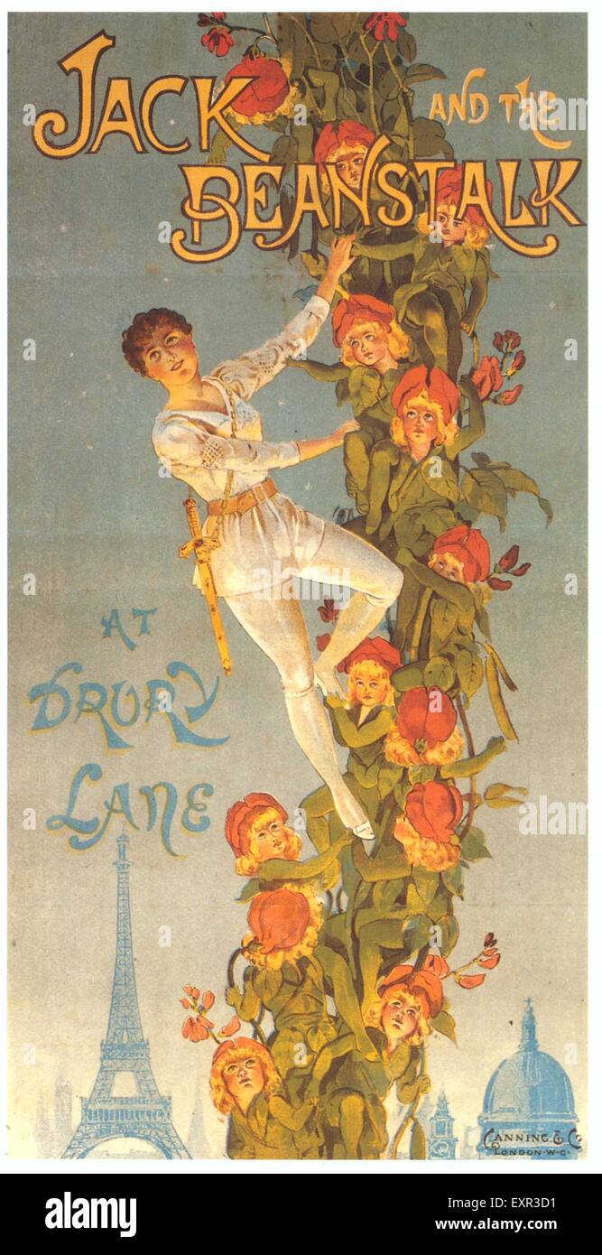 1900s UK Jack And The Beanstalk Poster - Stock Image
