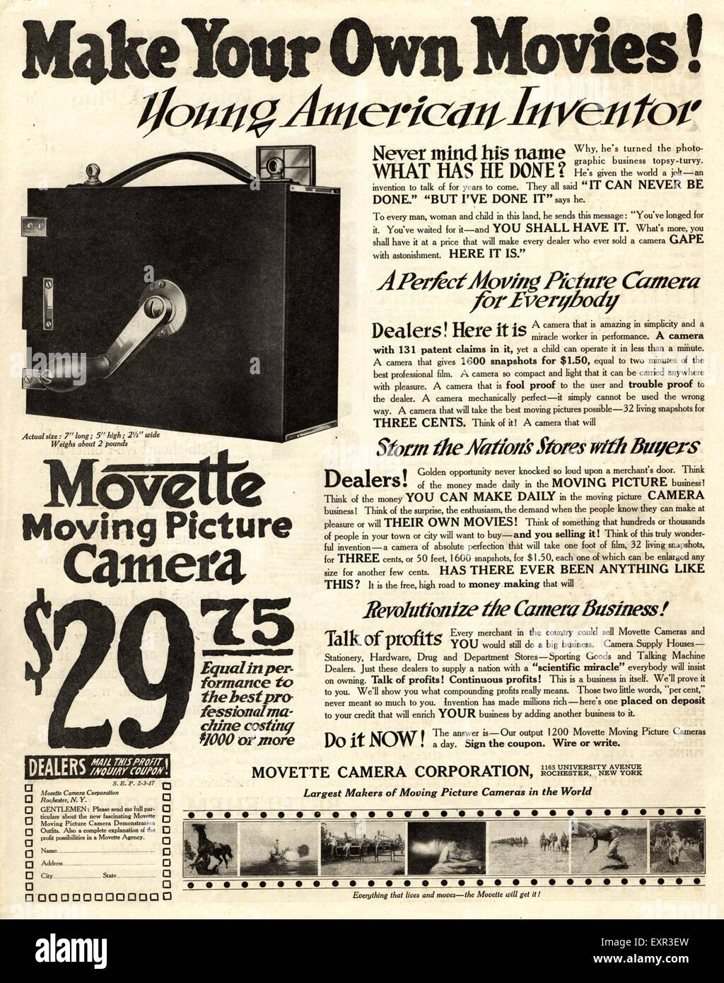 1910s USA Movette Cine Cameras Magazine Advert - Stock Image