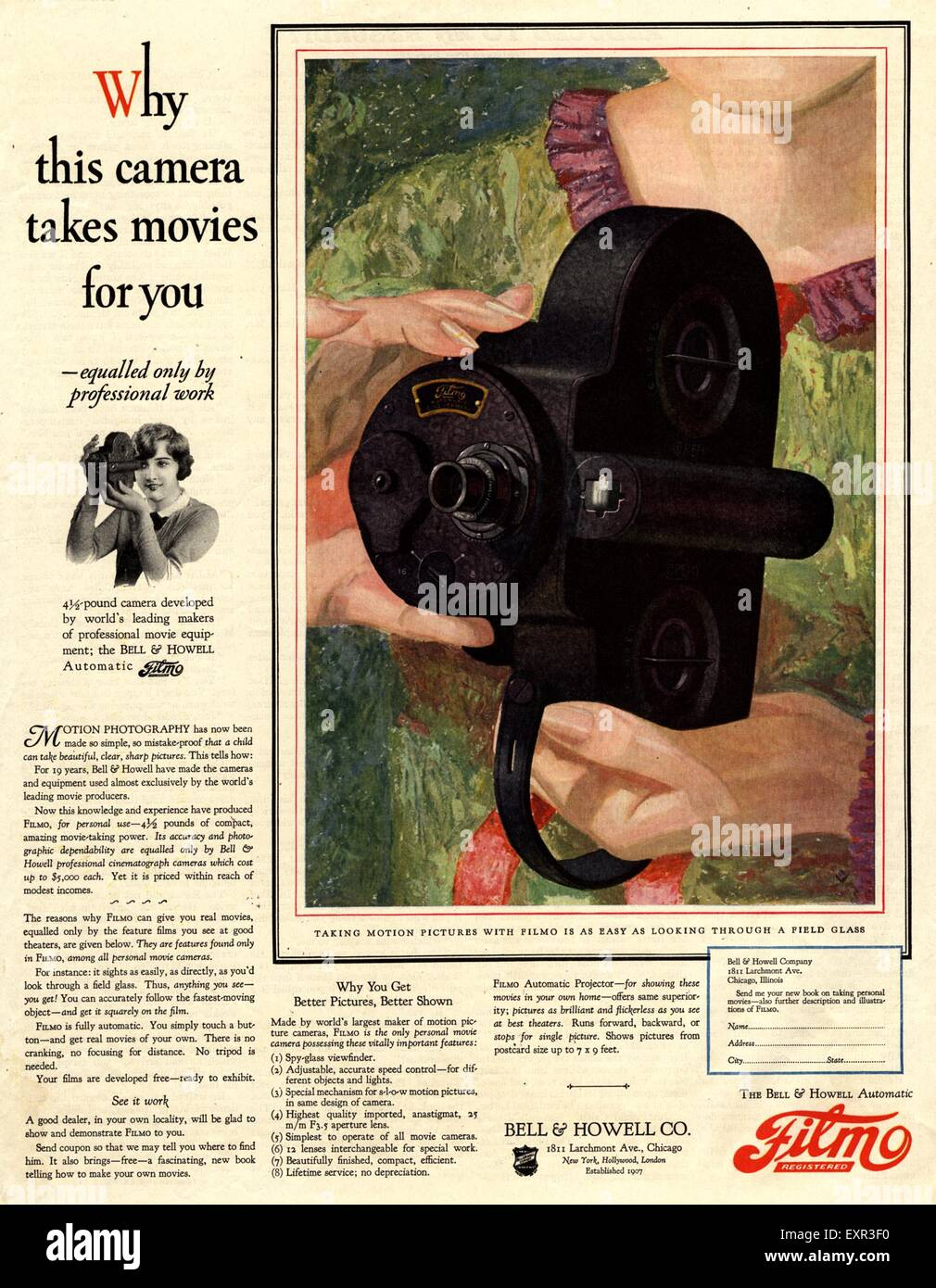 1920s USA Filmo Cine Cameras Magazine Advert - Stock Image
