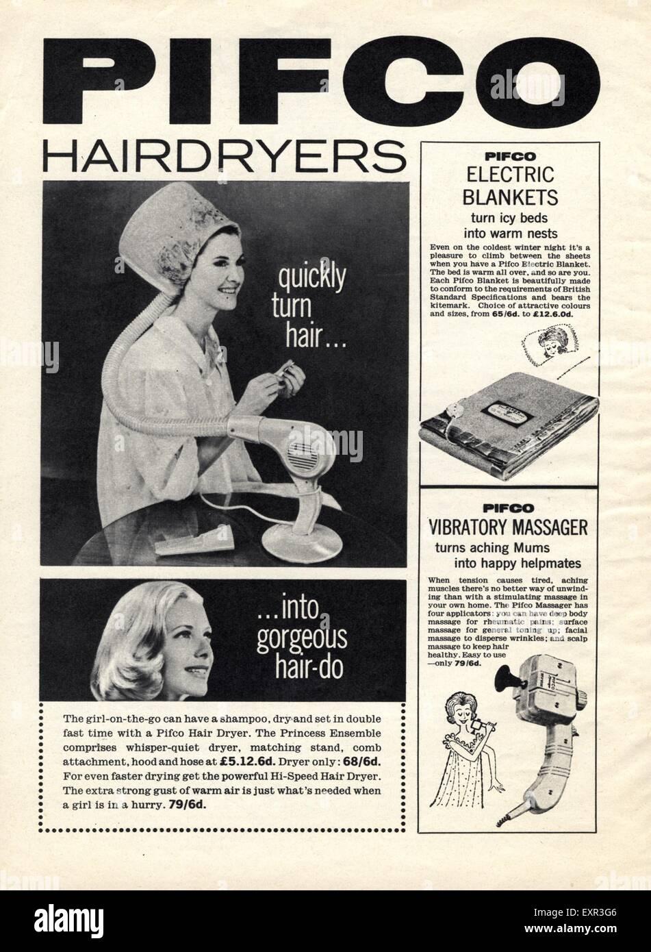 1950s UK Pifco Hairdryers Magazine Advert Stock Photo - Alamy