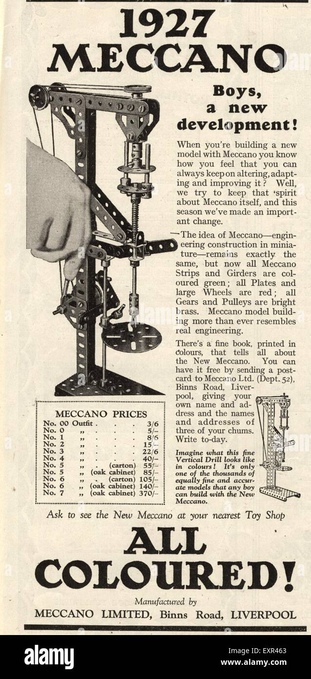 1920s UK Meccano Magazine Advert - Stock Image