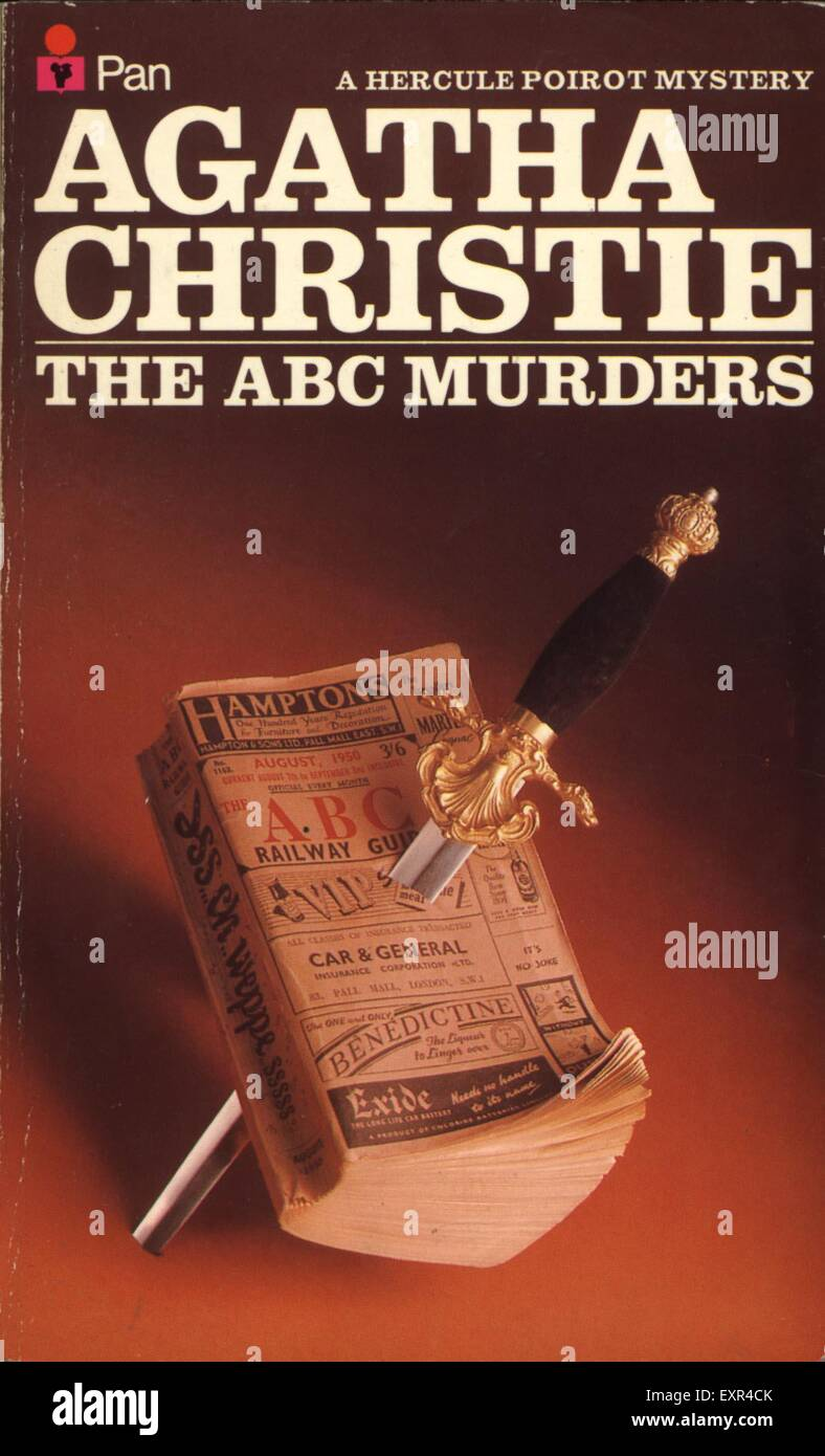 1970s UK The ABC Murders (A Hercule Poirot Mystery) by Agatha Christie Book Cover - Stock Image