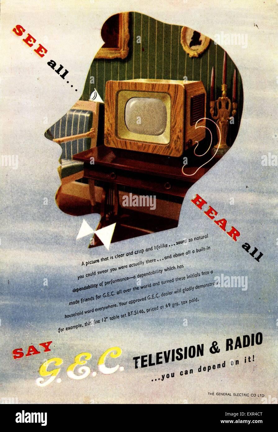 1940s UK G.E.C Magazine Advert - Stock Image
