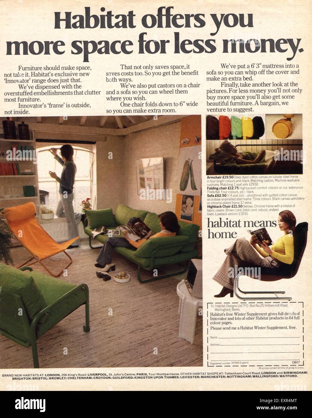 1970s uk interiors 1970s furniture habitat magazine advert stock