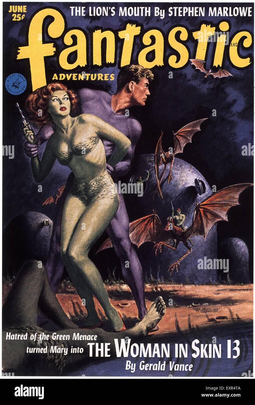 1950s USA Fantastic Adventures Magazine Cover - Stock Image