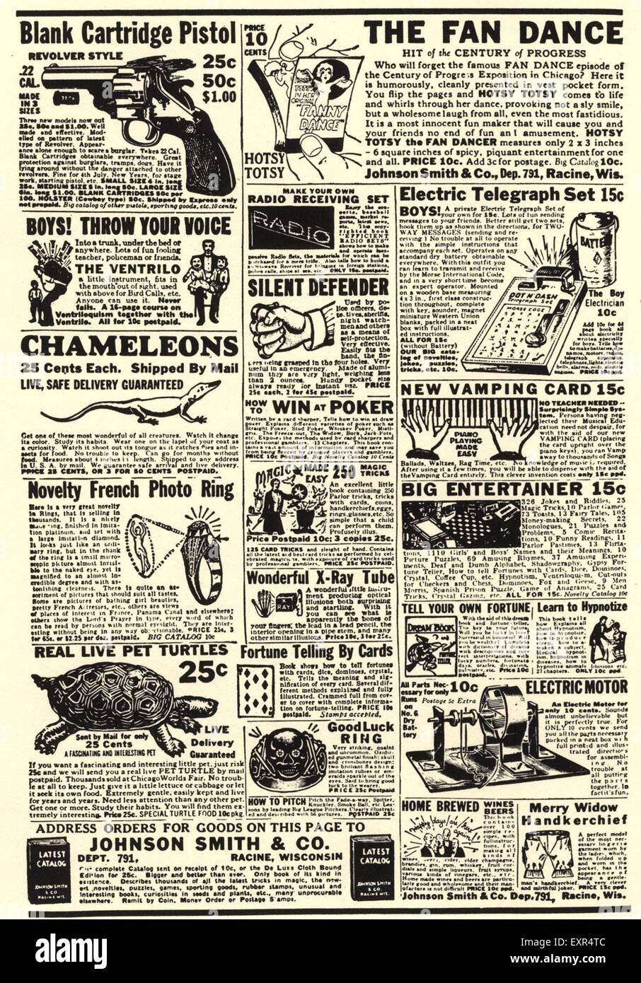 1950s USA Small adverts Magazine Plate - Stock Image