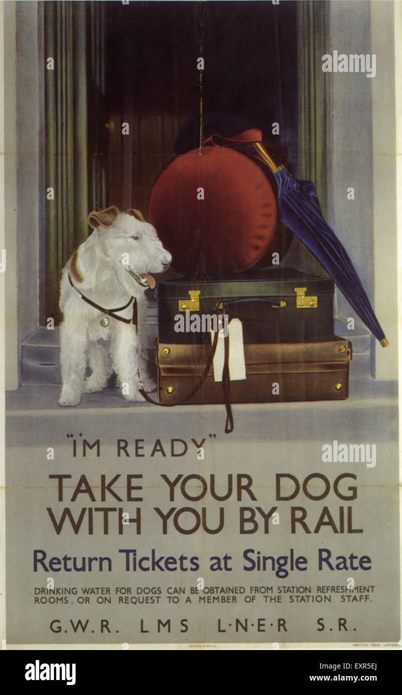 1910s UK Take your Dog on the Train Poster - Stock Image
